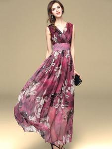 Vestiti Lunghi mogano Abiti Lunghi in chiffon stampa floreale a strati Vestiti Lunghi Eleganti Abiti Abbigliamento  Donna