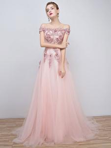 Abiti da Ballo Rosa 2020 Lungo Tulle Off The Shoulder Abito da Sera in Pizzo con Applicazioni di Pizzo Perline