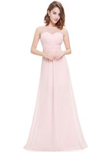 Шифон вечерние платья розовый невесты A линия иллюзия рукавов Плиссированные этаж Длина партии платья