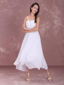 Vestidos Blancos De Novia Sencillos Correas Bordado Escalonado Volantes Vestido Corto De Novia