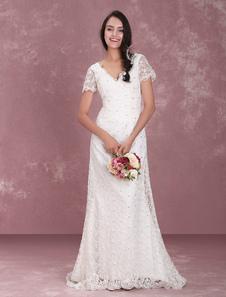 Vestido de noiva Decote V Cauda Com grânulos De renda