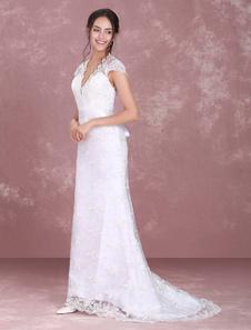 Vestido De Noiva 2020 Branco Rendas Decote Em V Nupcial Vestido Ilusão Buraco Da Fechadura Fita Faixa Vestido De Casamento Com Cauda