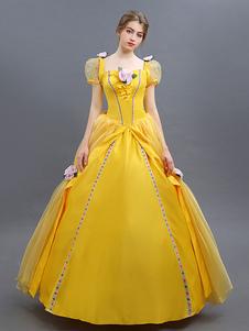 جمال والوحش زي 2020 حسناء تأثيري الكرة ثوب أصفر اللباس هالوين