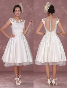 Chá-comprimento vestido de noiva marfim de recepção com renda pura Milanoo