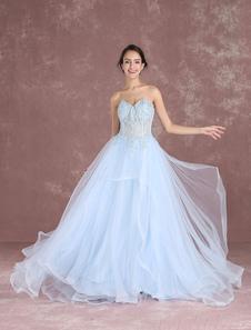 Vestido de noiva azul decote V em coração sem fitas sem mangas Lace up de tule em linha-A Com Cauda