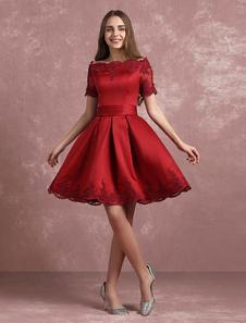 Бордовый Homecoming платье Бато кружева аппликация Короткие Пром платье атласная Короткие Плиссированные платье партии линии