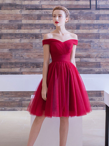 Tule vestido bordô vestido de Cocktail fora do ombro A linha Ruched joelho comprimento vestido de baile