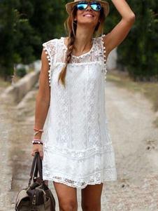 Vestido de verão branco Lace Sheer vestido sem mangas de túnica com Pom Pom
