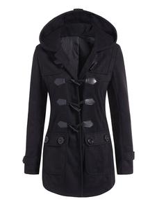 Cappotto con montgomery nero Cappotto invernale a maniche lunghe con cappuccio e tasche