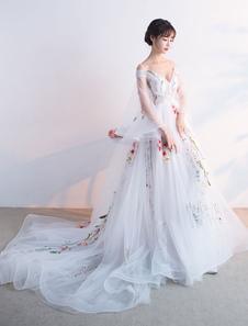 Слоновой кости конкурс платье тюль вышитые Пром платье Белл 3/4 рукав V шеи линия платье со шлейфом