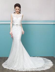 Русалка свадебные платья кружева Бисероплетение Keyhole Sash без рукавов свадебное платье с поездом