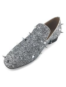 Sapatos de Prata Spike 2020 Homens Sapatos Lantejoulas Metálico Rodada Deslizamento Toe On Shoes