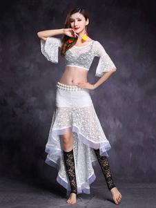 ベリーダンス衣装 大人用 ロングスカート&トップス 女性用 無地 アシンメトリー レース