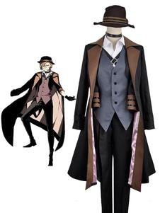 Costume Carnevale Bungo Stray Dogs cosplay costume uomo camicia&guanti&accessori&scialle&pantaloni&gilet&cappotto&cappello Anime Giapponese in panno uniforme