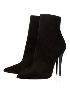 Botas pretas de camurça de salto alto apontou o cor sólida Stiletto partido sapatos dedo do pé tornozelo botas femininas