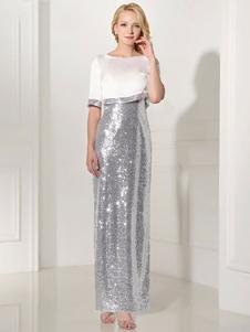 Серебряный вечер платье блесток 2 кусок мать платье оболочка Сплит V шеи цветок голеностопного длина платье партии