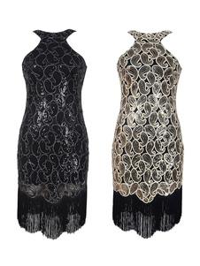 Vintage 2020 flapper Vestido Halloween traje grande Gatsby 1920's Charleston vestidos em lantejoulas de dois tons preto feminino
