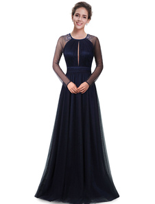 Формальное вечернее платье из тюля с длинным рукавом из бисера с матерью из невесты. Королевская синяя круглая шея.