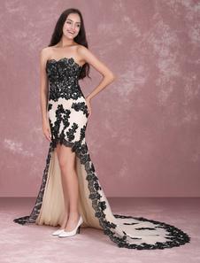 Vestido de baile Fecho Com  Anágua Não cor de champanhe sem alças 30cm Com Cauda