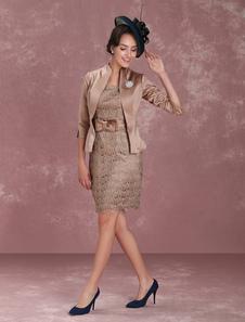 Vestito per la madre della sposa  a colonna grigio talpo fiocchi al ginocchio con scollo rotondo maniche a 3/4 zip