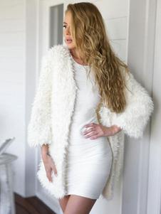 Белое меховое пальто с длинными рукавами для женщин