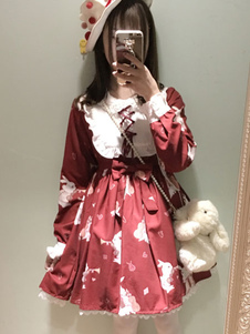 Sweet Lolita Dress OP Musical Rabbit Burgundy Lolita Dress Lace Up Impreso manga larga Flare Dress para Lolita