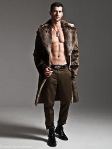 Casacos de peles artificiais dos homens manga comprida Oversized Collar casacos de inverno