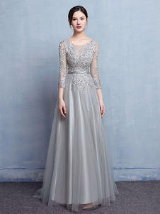 Vestido para la madre de los novios plateado con escote redondo con 3/4 manga de encaje de línea A Con cola vestidos de madrina de boda