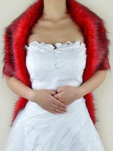 الأحمر الزفاف يلتف فو الفراء أكمام الزفاف شال