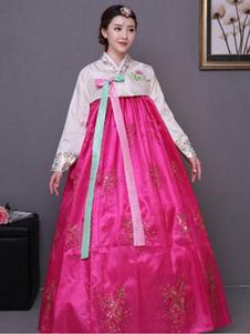 النساء زي الكورية الهانبوك روز اللباس مع معطف هالوين زي الآسيوية