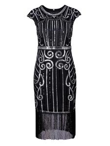 Vestidos años 20 negro  Charleston disfraz fibra de poliéster de poliéster Color liso de flapper para día de fiesta para adultos con vestido