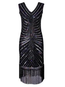 Disfraz Carnaval Traje 2020de lentejuelas negro con lentejuelas Vestido de borlas con lentejuelas de Gran Gatsby de los años 1920 Carnaval