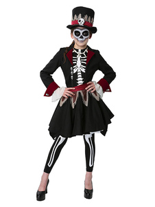 Disfraz Carnaval Halloween Skeleton Day Of Dead Costume Black Two Tone 5 Piezas para niñas Carnaval