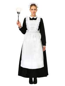 Fantasia femenino para adultos de poliéster empregada com dois tons acessórios de poliéster para Halloween preta