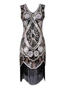 Vestido 2020 de Flapper Great Gatsby 1920's Vintage Traje Preto com borlas com franjas borlas vestido para as mulheres do Dia Das Bruxas
