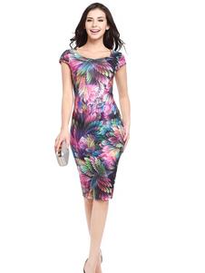 Vestito aderente da donna 2020 Abito tubino con maniche corte a maniche corte con stampa floreale aderente