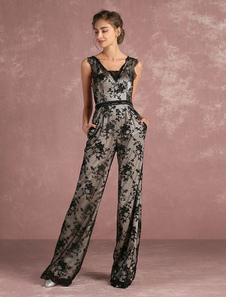 Vestido de noche 2020 negro sin mangas con cuello en V con faja Milanoo