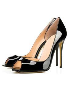 الأسود عالية الكعب زقزقة اصبع القدم بالاضافة الى حجم المرأة براءات الاختراع والجلود بو خنجر عالية الانزلاق على مضخات2020