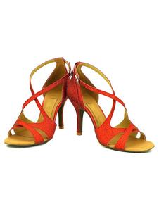 Salto alto aberto Toe Criss Cross preto de dança sapatos feminino personalizar sapatos de dança de salão