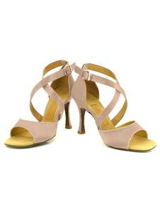 Женская танцевальная обувь высокий каблук пряжки крест фронта Открытый мыс бальные туфли