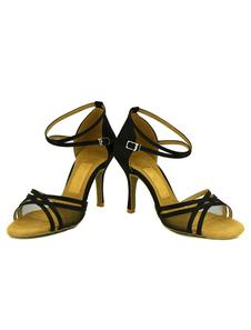 Dança do cetim sapatos sapatos de salto alto no tornozelo cinta Toe aberto de salão para mulheres