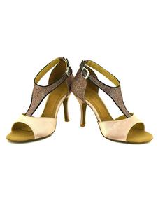 Sapatos de dança preto salto alto cetim lantejoulas T-tipo fivelas personalizadas sapatos de dança de salão