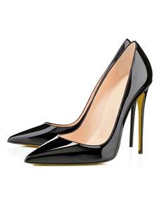 Sapatos 2020 As Mulheres Pretas Dos Saltos Altos Vestem Sapatas Apontaram O Deslizamento Do Plutônio Da Patente Do Dedo Do Pé Em Sapatas