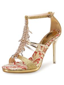 Glitter oro strass perline T tipo bendaggio caviglia Strap sandalo scarpe sandali tacco alto donne vestito