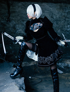 Nier Automata 2B YoRHa No.2 Type B Halloween Cosplay Costume в 5 частях
