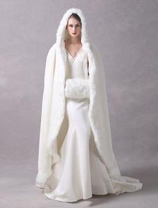 فو الفراء سترة الزفاف طويل العرسان كيب عباءة مقنعين العاج الشتاء التفاف معطف