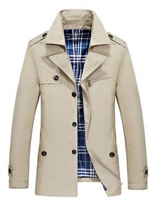 Trench coat da uomo in kaki con collo a manica lunga e giacca antivento a manica lunga