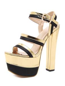 Sandali sexy ori 6cm aperto pU tacco largo chic & moderni da rave party donna pU Verniciata sandali éstate 16.5cm