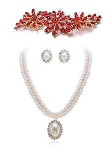 Цветочные ювелирные изделия Rhinestone венчания отбортовывая зажим волос с привесным ожерельем и серьгой 3 части Bridal ювелирные изделия