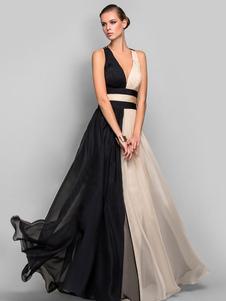 Vestido largo negro  Moda Mujer sin mangas de chifón Vestidos de dos tonos muy escotado por detrás con cuello profundo elegante Verano